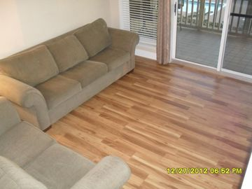 Living room and new Pergo flooring.