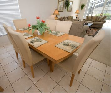 The dining area has comfortable seating to enjoy a home cooked meal after Disney