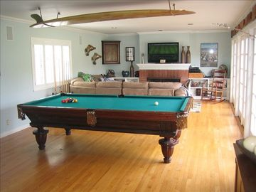 Family room with regulation pool table