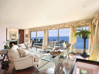 Laguna Beach house photo - Living room main seating area w large balcony w glass railing