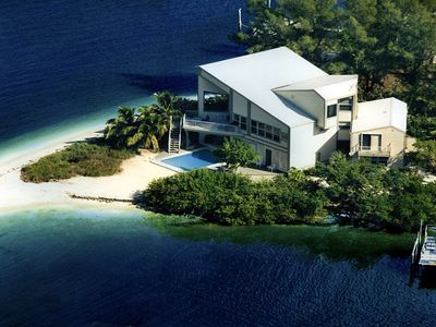 Overhead view of the house on the tip of this strip of land, your private beach!