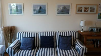 St Ives apartment rental - Lovely Sofa with modern pictures