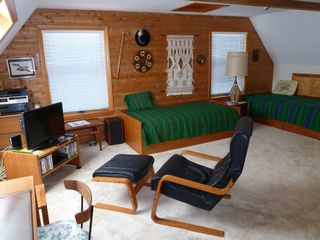 Prospect Harbor house photo - The loft with 2 twin beds and a cozy place to watch your favorite movie.