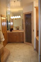 Sundance cabin photo - Master Marble Bath: 2 separate sinks. European shower, 2 shower heads w/bench.
