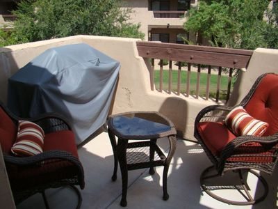 Private Patio with New Bistro set and Gas Barbeque