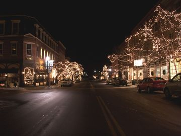 OUR CHARMING VILLAGE, THE LIGHTS AE ON FROM DECEMBER THROUGH MARCH.
