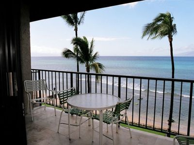 Kaanapali condo rental - View from lanai. This is our breakfast table.