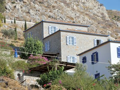Villa Fivos Recommended For Families. Is A Detached Stone House Near Sea Side
