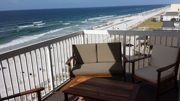 Gulf Shores condo rental - The balcony is 13' wide by 7' deep. Patio set includes 2 chairs and a bench.