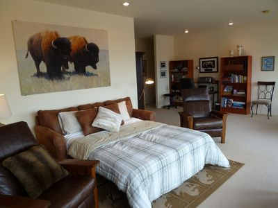Livingston house rental - The sofa bed in the den opens up to a queen-size bed.