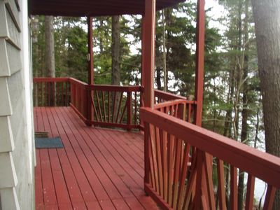 Deck on water side of cottage