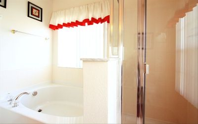 Soak in this large garden tub in master bath