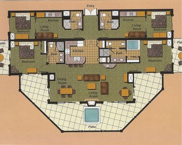 Floorplan; master bedroom right front, guest on left, two mini-suites in rear