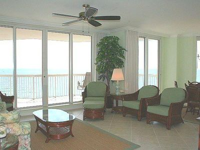 Spacious Great Room, Floor to Ceiling Gulf Views