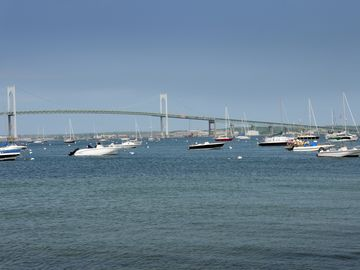 View of the Newport Bridge from harbor.