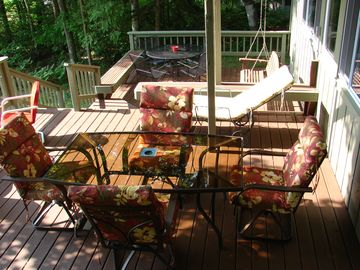 Split level decks plus a balcony deck