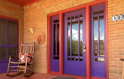 Enjoy beautiful sunset views of the red cliffs from the front porch
