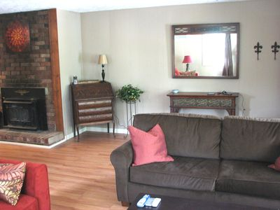 Asheville apartment rental - Living room with wood burning fireplace
