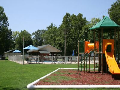 Playground & pool by the owner camping area.