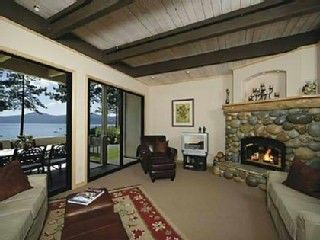 Kings Beach townhome rental - Family room with panoramic lake views
