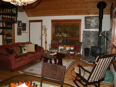 Which opens into the Living Area, with a Wood-burning Stove