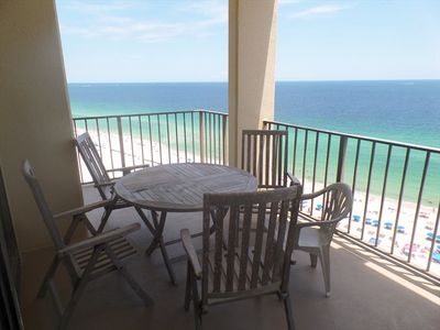 Walk out on this corner, top floor balcony at Phoenix III and enjoy the miles of white, sandy beach or listening to the waves crash along the shoreline of Orange Beach