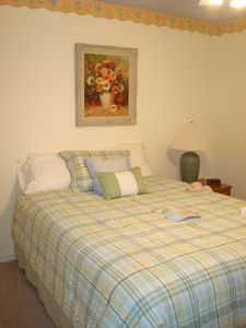 Spare bedroom with Queen size bed with TV