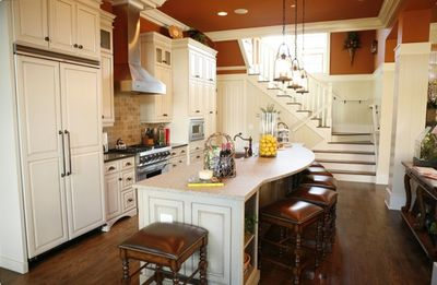 Granite Island; Barstools; Hardwoods Throughout