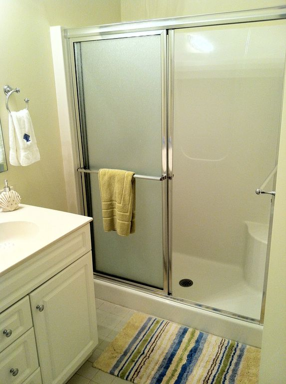 The large master shower and sink