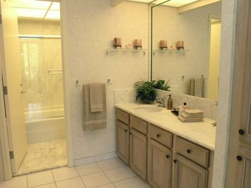 Spacious Vanity & Bath Area.