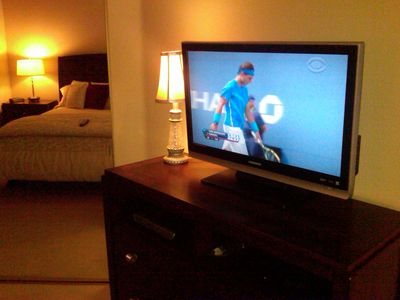 "37"" flatscreen TV in the Master Bedroom with DVD player."