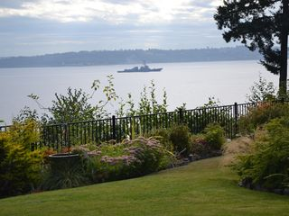 Bainbridge Island house photo - view from the house deck, ships crossing the Sound