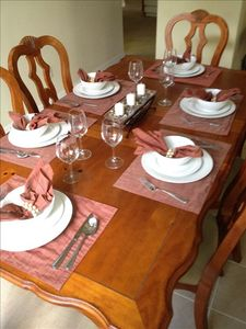 Dining room with room for six at the table