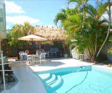 Go for a swim or enjoy a beverage at your own Tiki Bar at poolside.