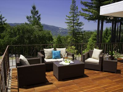 1000 Square Foot Deck with View of West Side of Sonoma Valley in the Background.
