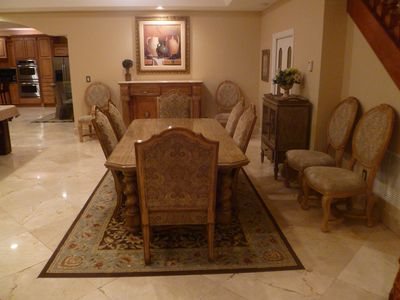 Elegant and large dining table. Seats 10-12 guests.
