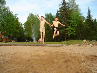 Lyman Lake house photo - longjumping and FUN on the beach