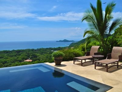Playa Hermosa villa rental - View of Gulf of Papagayo and Lounging Area around Pool