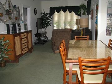 Dining room with table for six.
