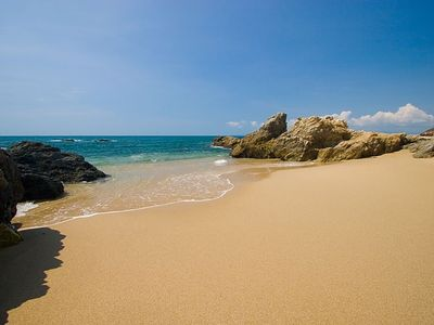 Just 30 steps from the villa, our sandy beach offers great snorkelling