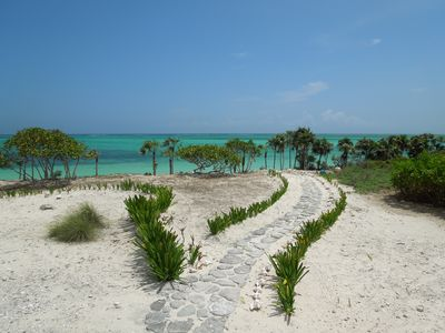 Pathway from the house to the water. The shore is lined with Palmetto Palms.