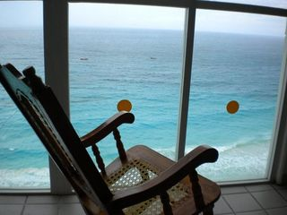 Cancun condo photo - Your view of the ocean from the 1 bdrm penthouse condo! Wall of Windows!