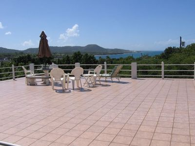 Full roof top (tiled) open terrace, great ocean, village and Spanish fort views.