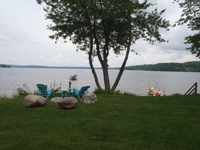 Landscaped Back Yard Overlooking Lake