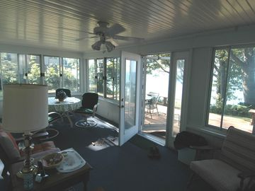 Partial view of our screened/glasses porch off the deck.