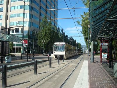 walk to light rail service to downtown and outlying areas of Portland.