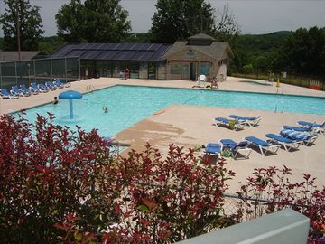 Both indoor & outdoor pools just a block away. Indoor pool is in the background.