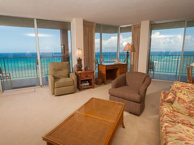 Living room with stunning views of Lanai and Molakai