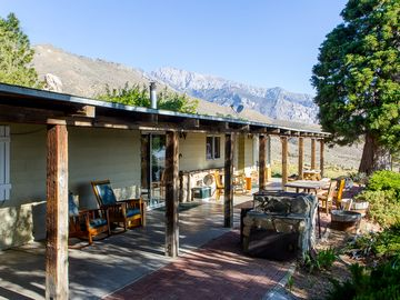 Lone Pine farmhouse rental - The Hogback Ranch with the back drop of the Eastern Sierra's