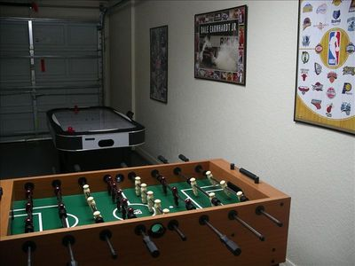 Foosball and Air Hockey in garage